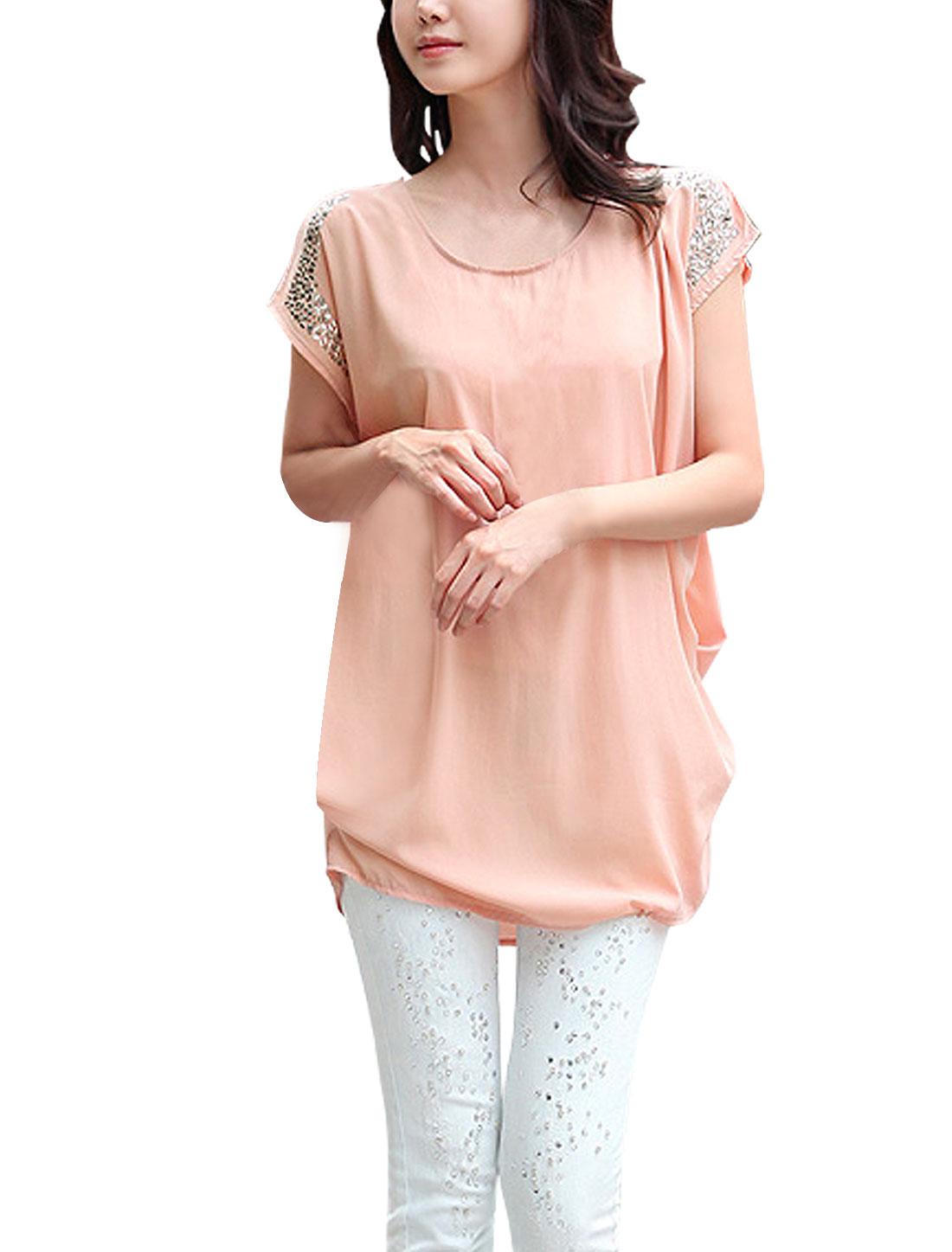 Woman Rhinestone Decor Shoulder Short Sleeve Pink Tunic Shirt S