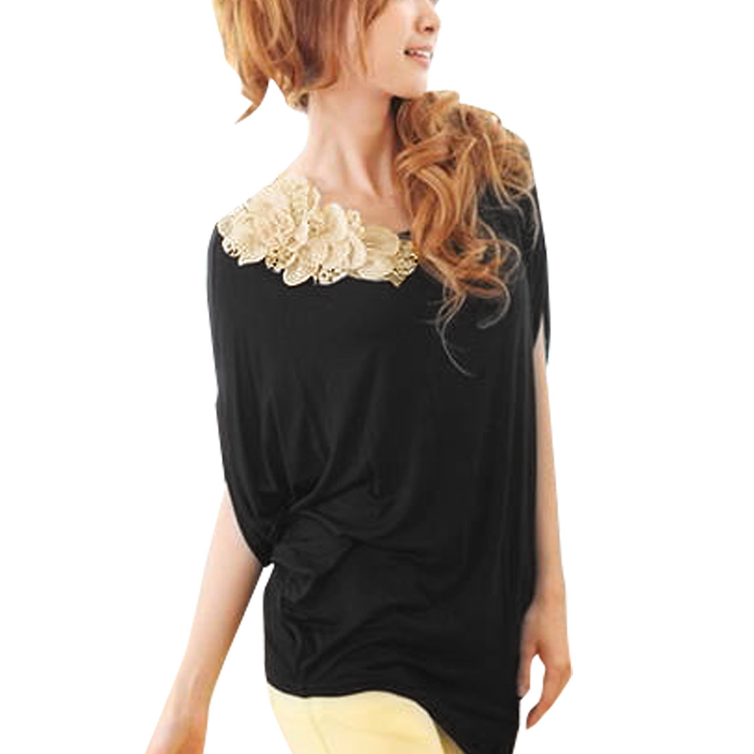 Woman Batwing Sleeve Irregular Hem Flower Decor Black Pullover Shirt S