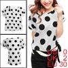 Ladies Scoop Neck Dolman Sleeves Dots Prints Blouse Beige XS