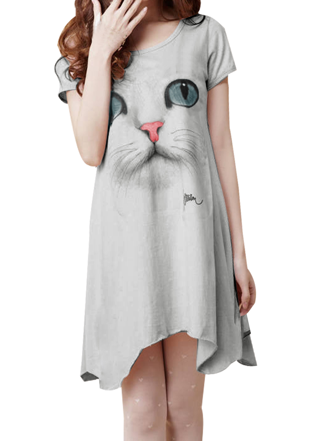 Woman Gray Dipped Hem Short Sleeve Cat Front Summer Short Dress XS