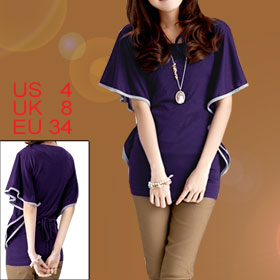 Lady Purple Scoop Neck Batwing Sleeve Piped Flouncing Side Casual Blouse S