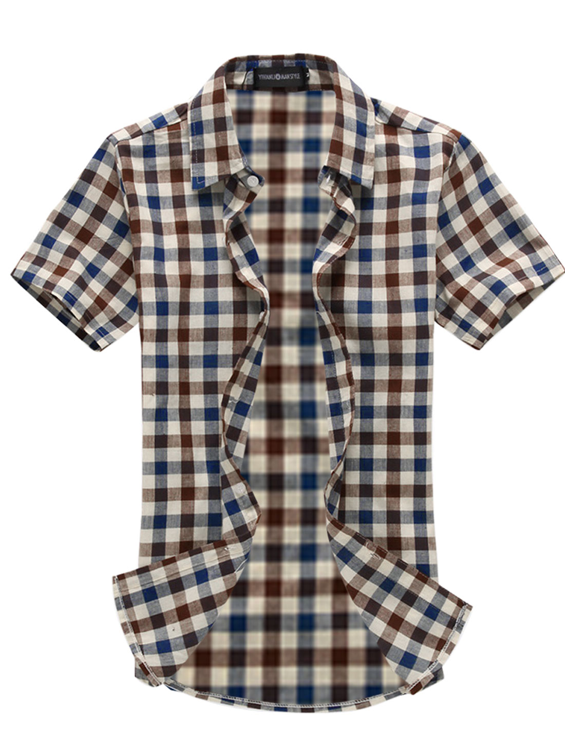 Mens Casual Blue Coffee Checkers Pattern Stylish NEW Blouse Tops M