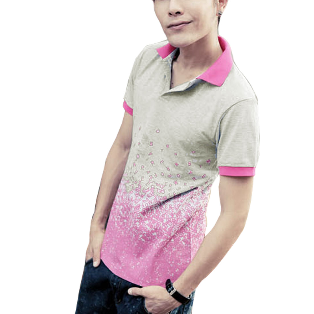 Mens Fuchsia Gray NEW Short Sleeve Point Collar Casual Polo Shirt Top S