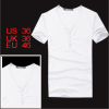 Short Sleeve Buttoned Placket Fashion Slim Fit Shirt S for Men White S