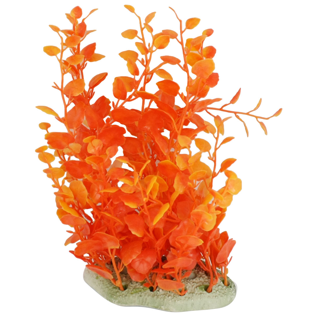 "Ceramic Base Orange Plastic Water Plants 7.9"" Hight for Fish Tank Ornament"
