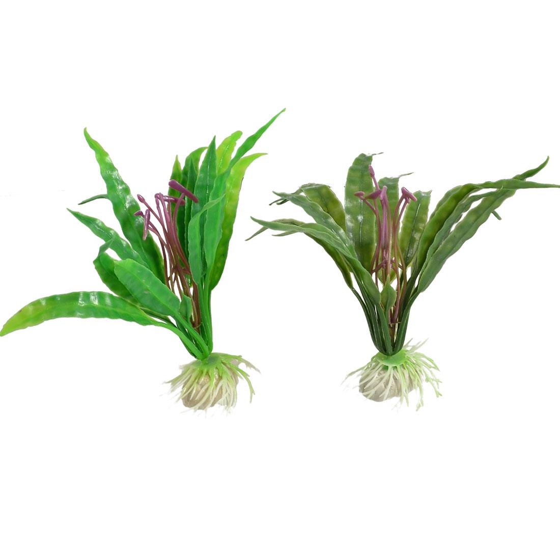2 Pcs Aquarium Decor Realistic Green Plastic Grass Purple Flower Plant