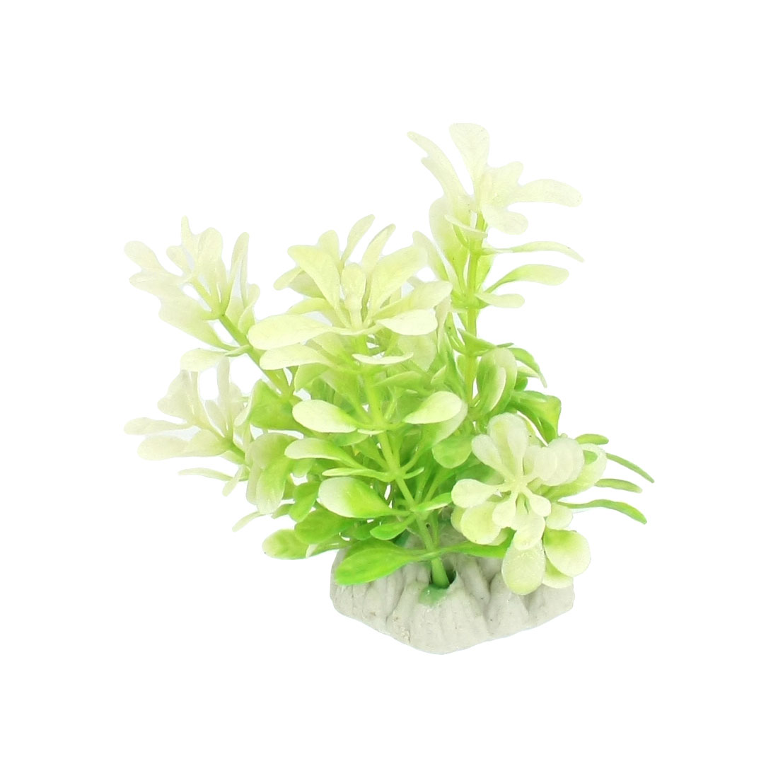 Emulational Plastic Light Green Off White Leaf Aquatic Plant for Aquarium Adorn