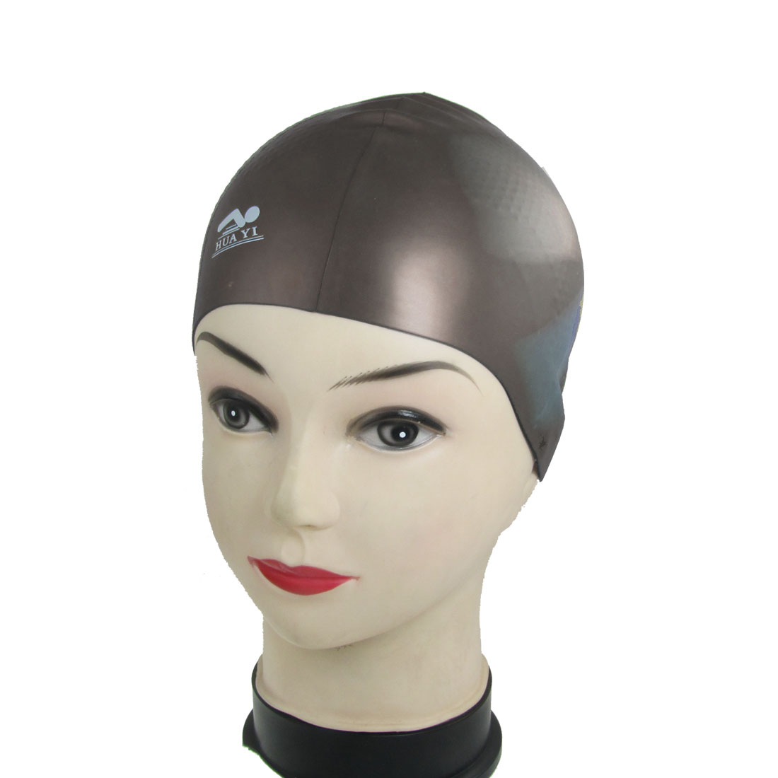 Gray Beige Interior Anti Slip Silicone Colorful Swimming Cap for Adults