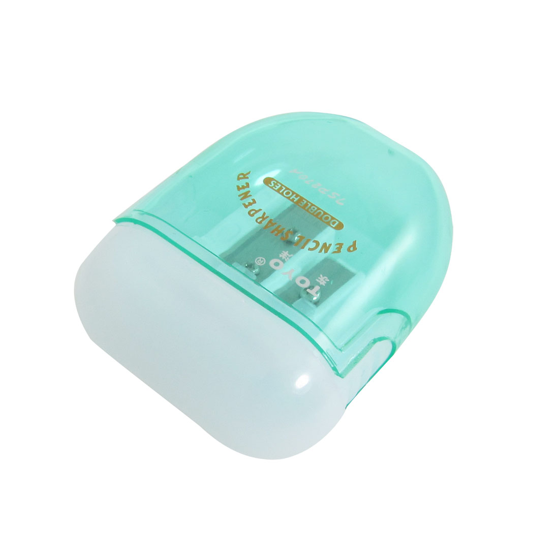 Double Hole Diameter 8mm Plastic Transparent Green Pencil Sharpener