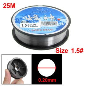25M 5.3Kg 0.20mm Diameter Clear White Plastic Fishing Line Spool 1.5#