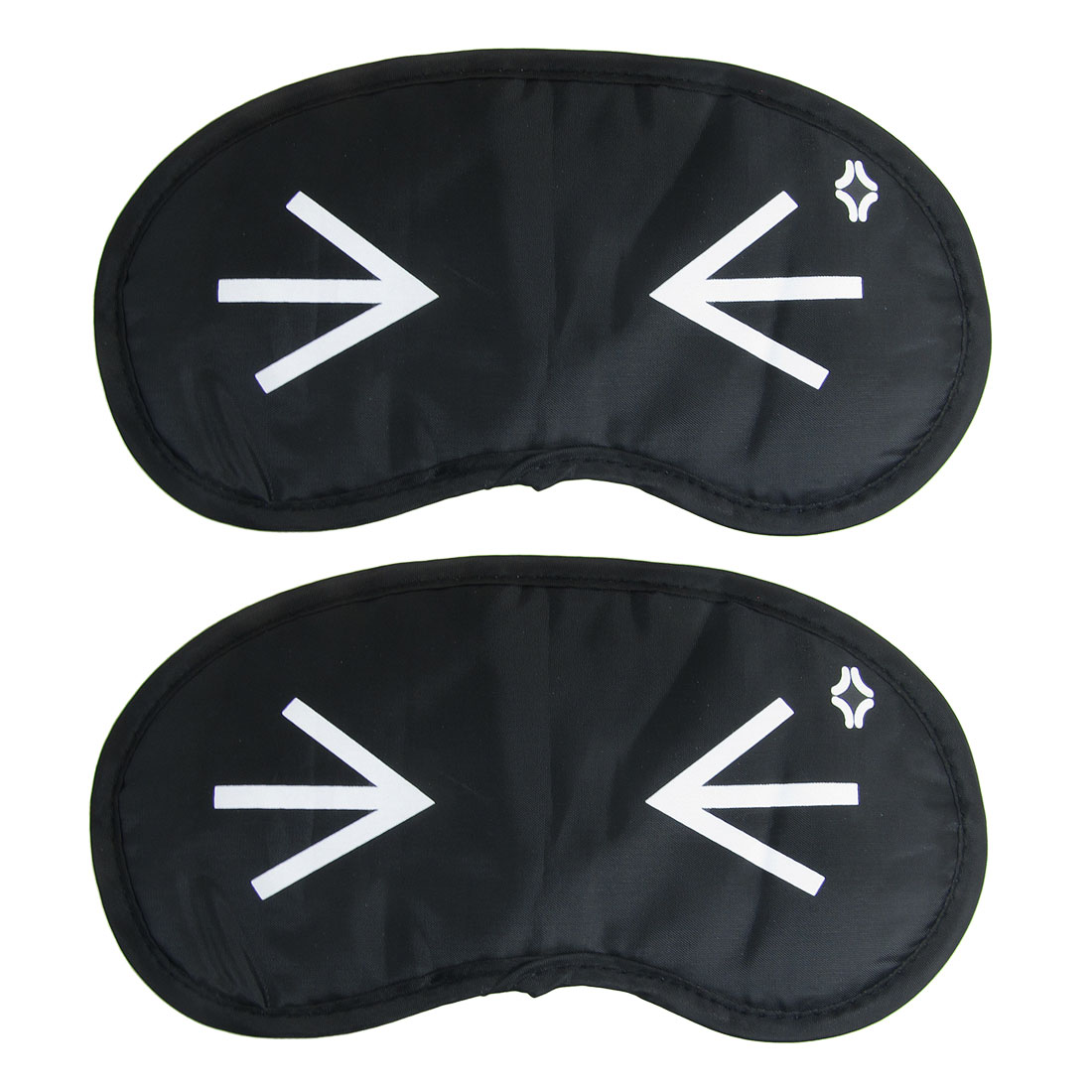Cartoon Eyes Pattern Black Nylon Eye Mask Eyeshade Sleep Blinder 2 Pcs