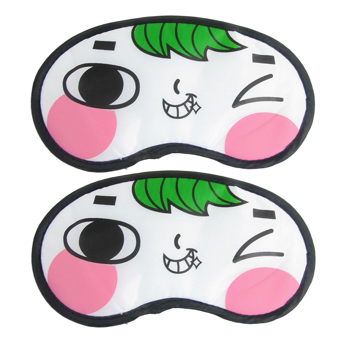 2 Pcs Cartoon Smiling Face Pattern Black White Nylon Eye Mask Eyeshade Sleep Blinder