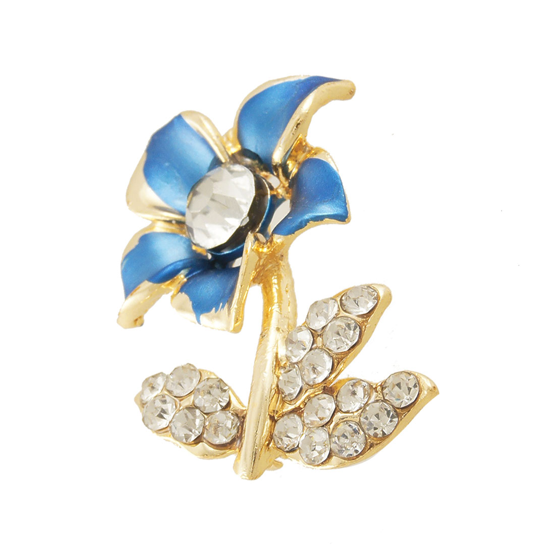 Women Shiny Rhinestone Royal Blue Flower Safety Pin Brooch Broach