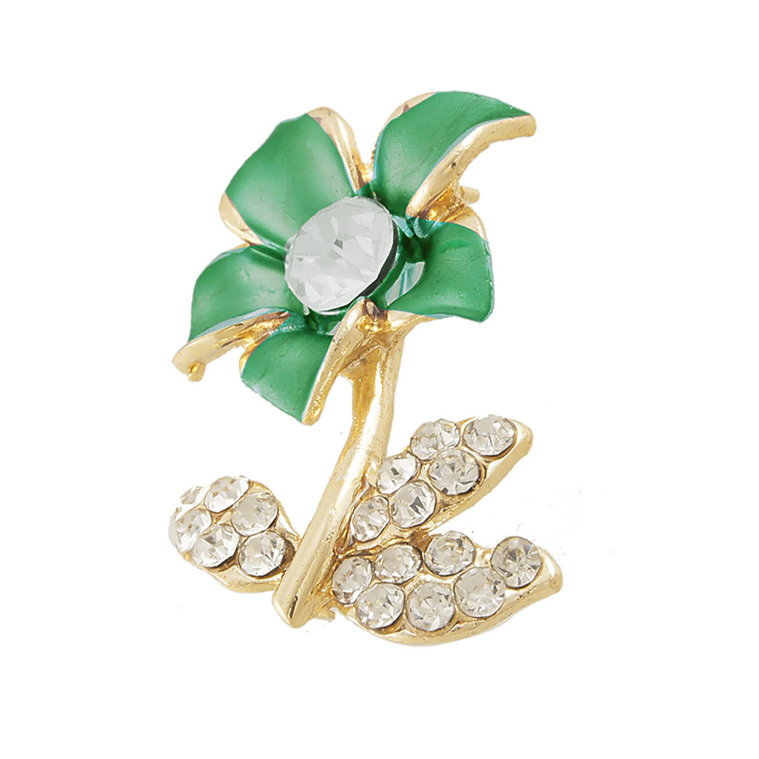 Rhinestone Decor Green Flower Design Safety Pin Brooch Broach