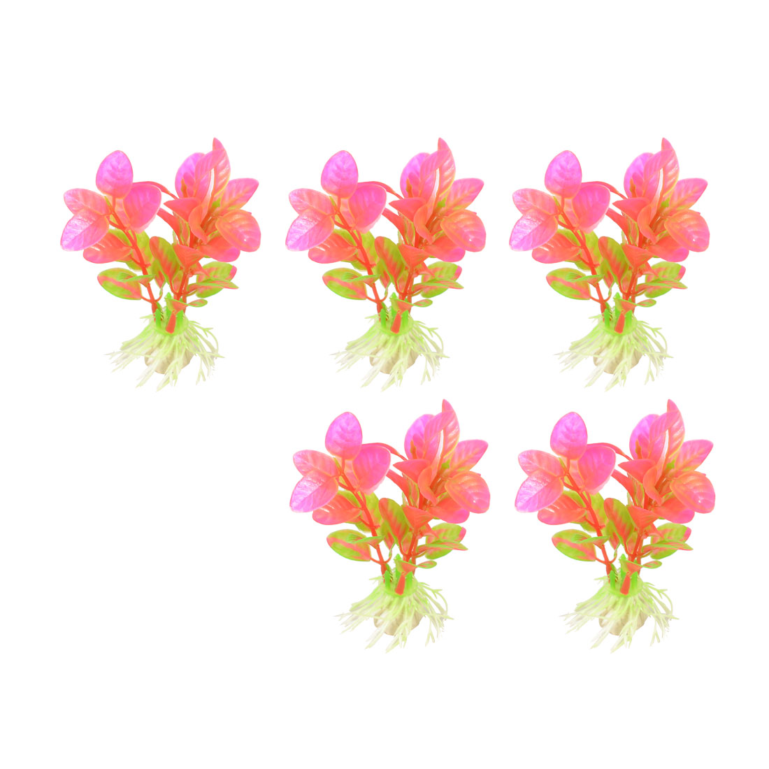"5 Pcs Fish Tank Decor Plastic Green Pink Plant 4.1"" Height"