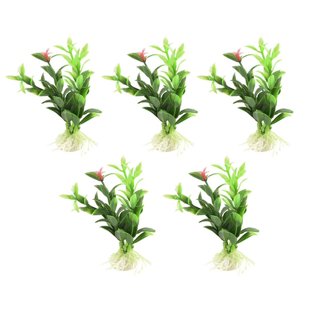 "4.8"" Height Aquarium Fish Tank Decor Green Plastic Aquascaping Plant 5 Pcs"