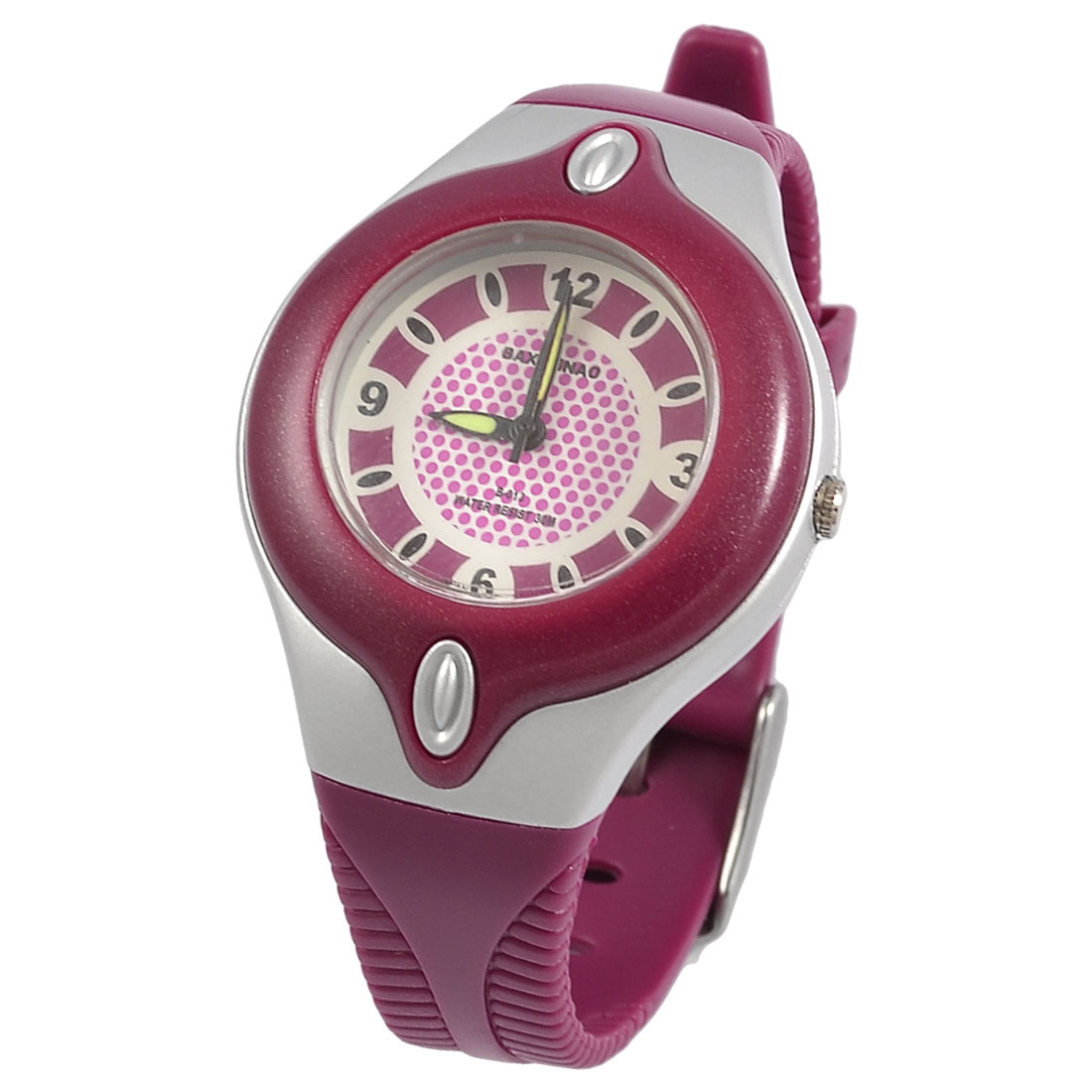 Round Dial Fuchsia Plastic Watchband Sports Wrist Watch for Children