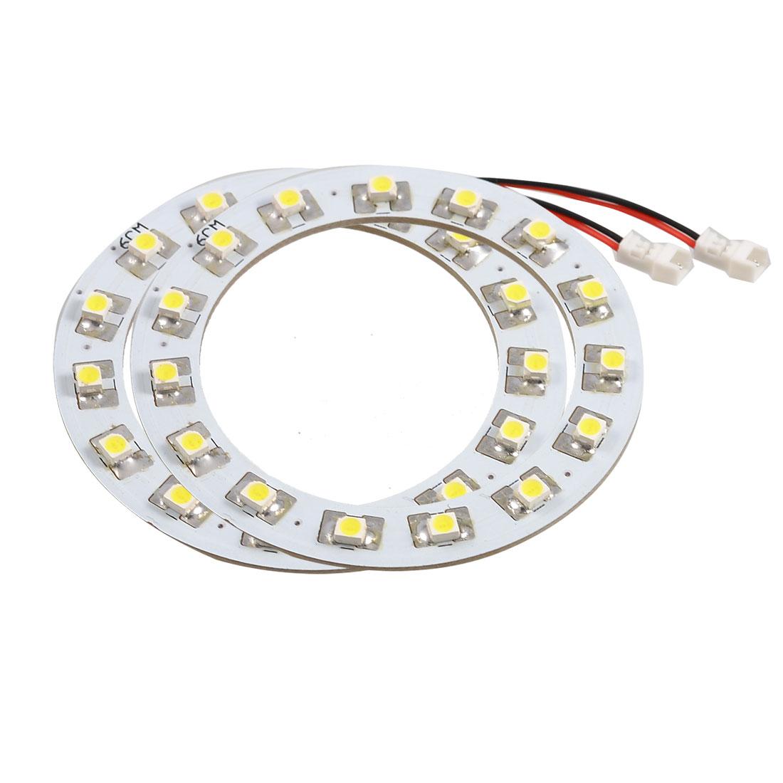 60mm White 15 SMD LEDs Angel Eyes Ring Car Headlight Light 2 Pcs
