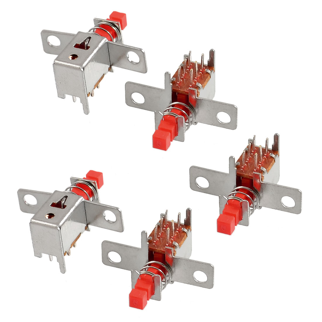 5 x Red 2NO 2NC Contact DPDT Push Button Switch AC 220V 3A