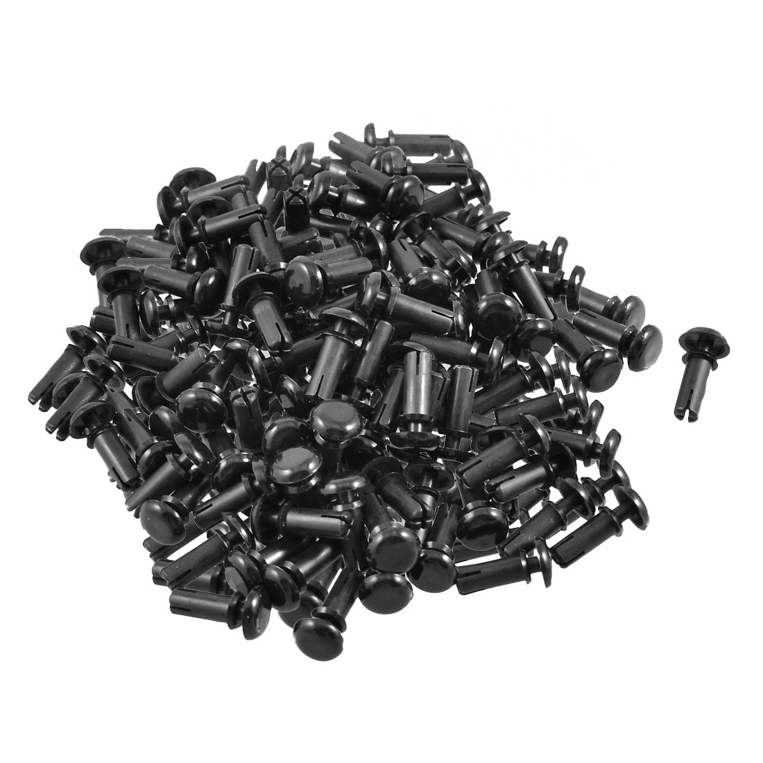 200 Pcs PCB 10.0mm Push in Height Nylon Clips Fasteners Rivets Black
