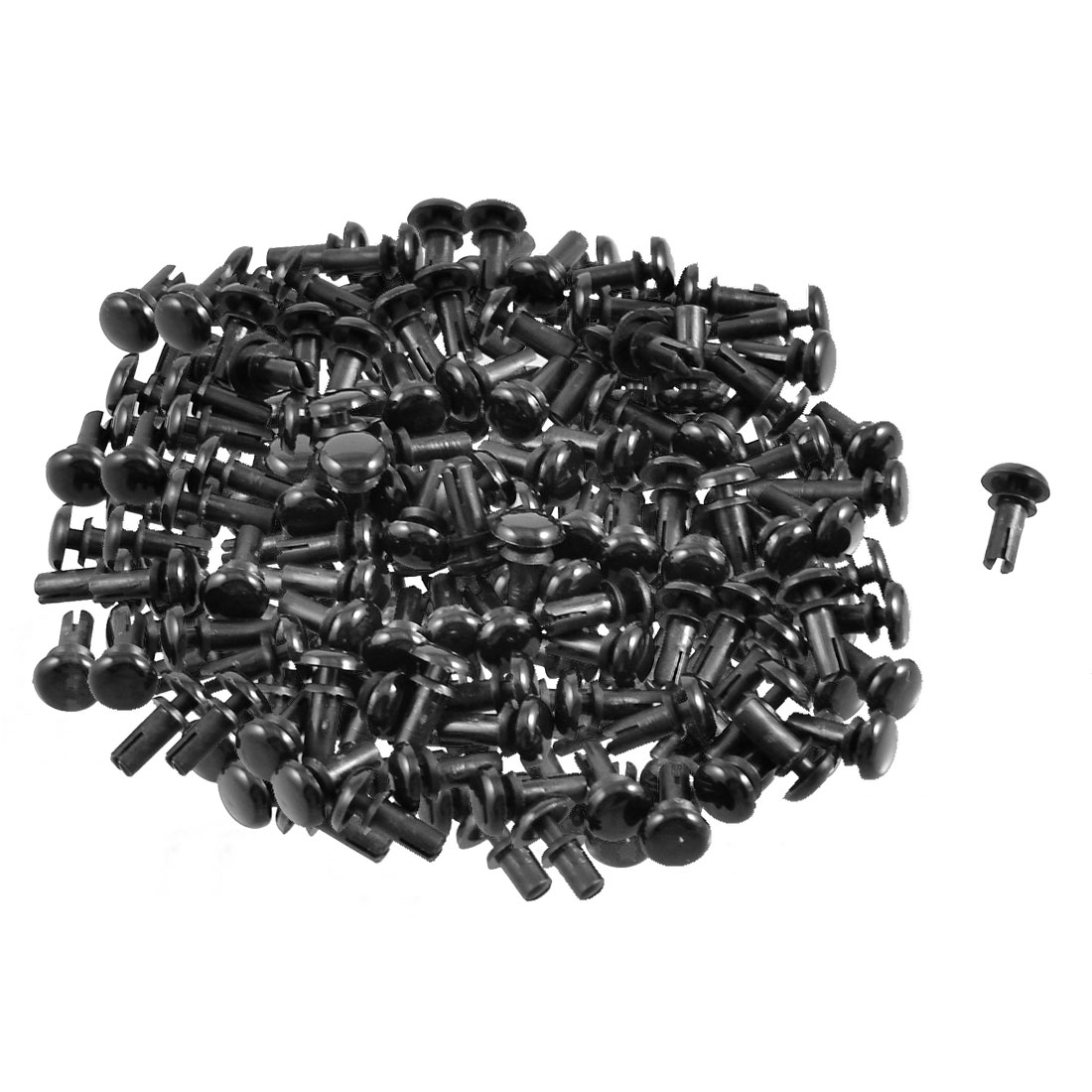 300 Pcs PCB 6.5mm Push in Height Nylon Clips Fasteners Rivets Black