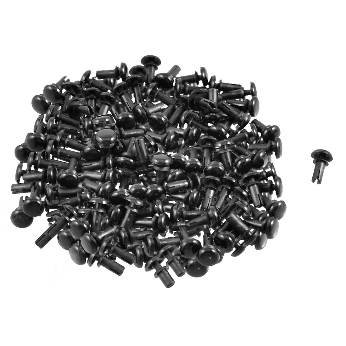 200 Pcs Black Nylon 3.0mm Bottom Dia Push Clips Rivets Fasteners R3065