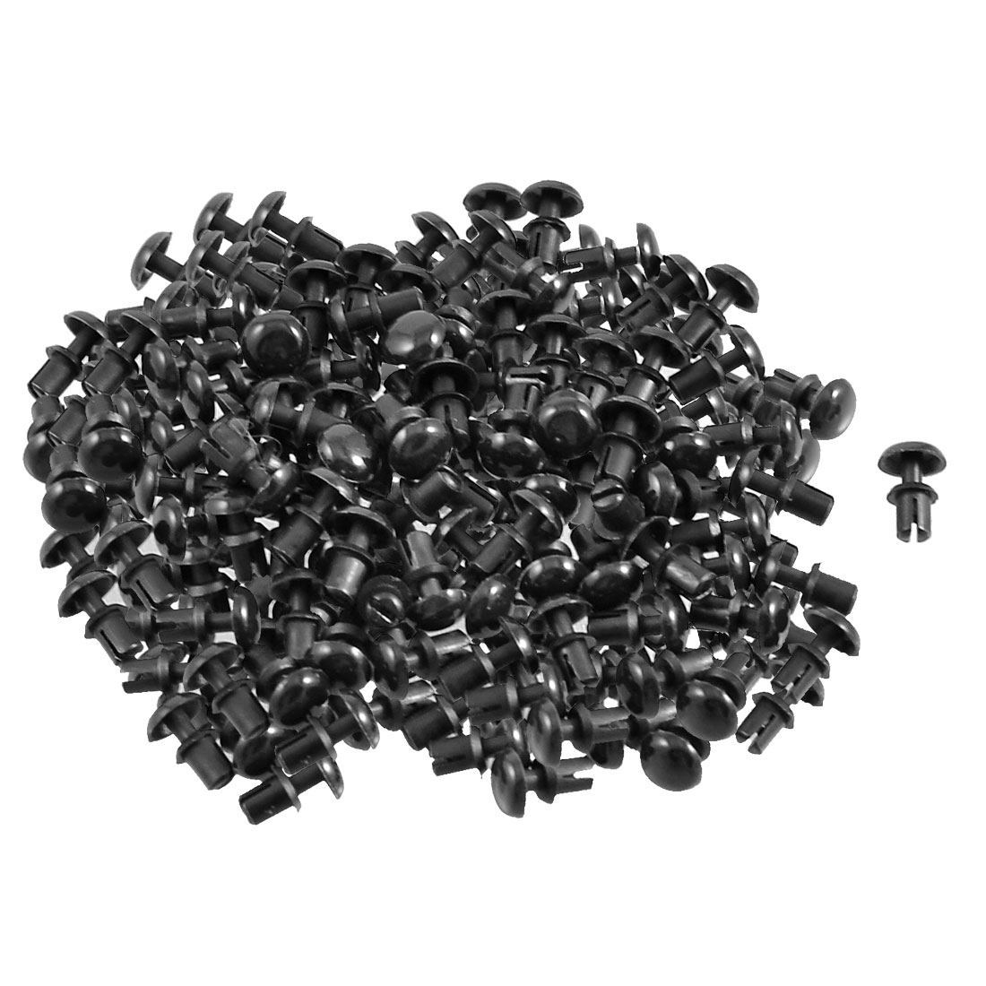 300 Pcs PCB 3.2mm Push in Height Nylon Clips Fasteners Rivets Black