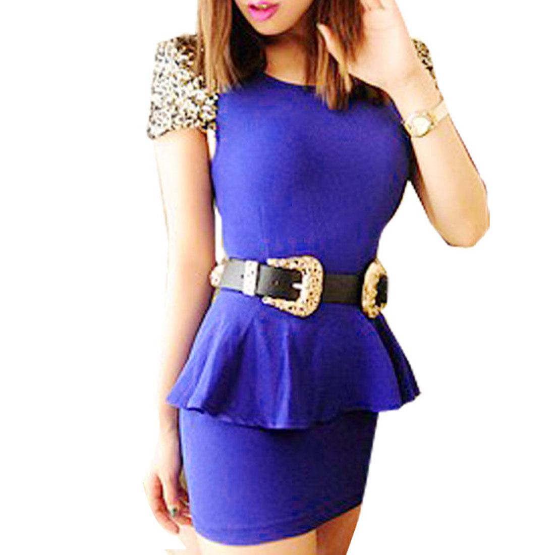 Ladies Sequins Decor Cap Sleeve Flouncing Waist Navy Blue Stretchy Shirt XS
