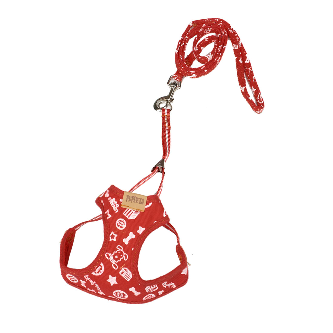 Red White Star Bone Prints Pet Dog Harness Leash Size 2