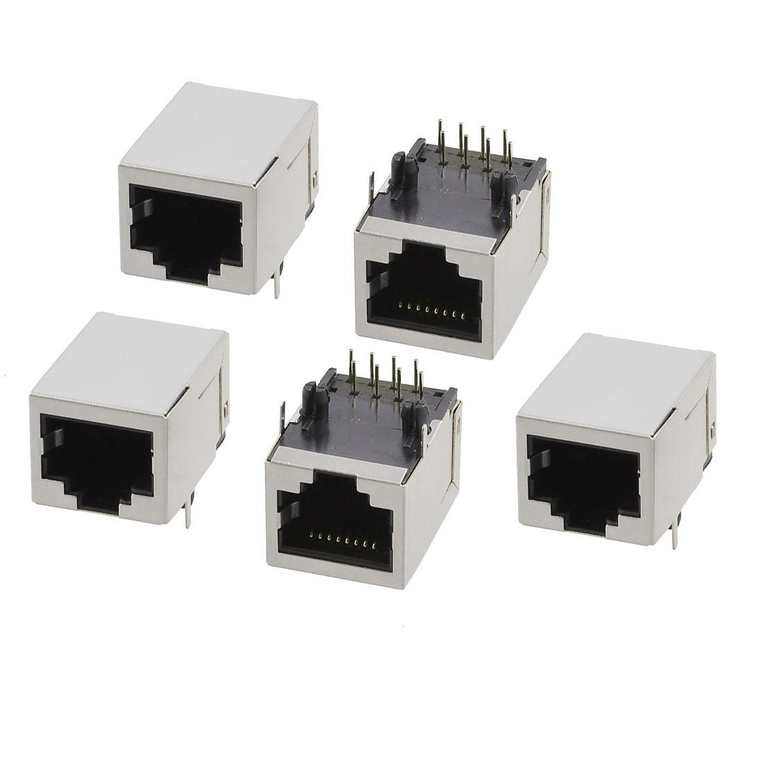 5 Pcs Shielded 8 Pins Network RJ45 Modular PCB Jacks