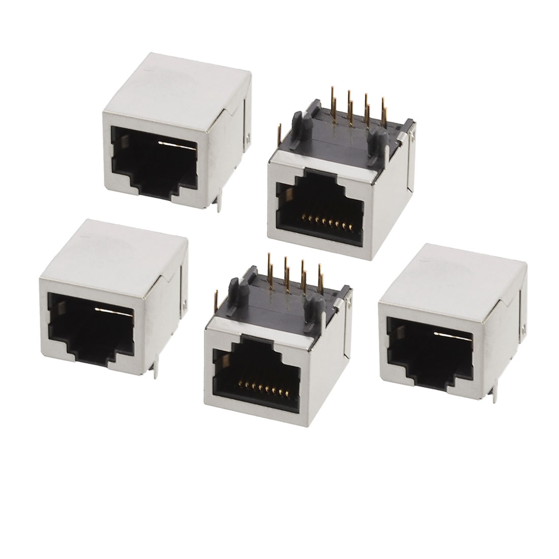 5 Pcs 8 Terminals RJ45 Socket Network Modular PCB Jacks