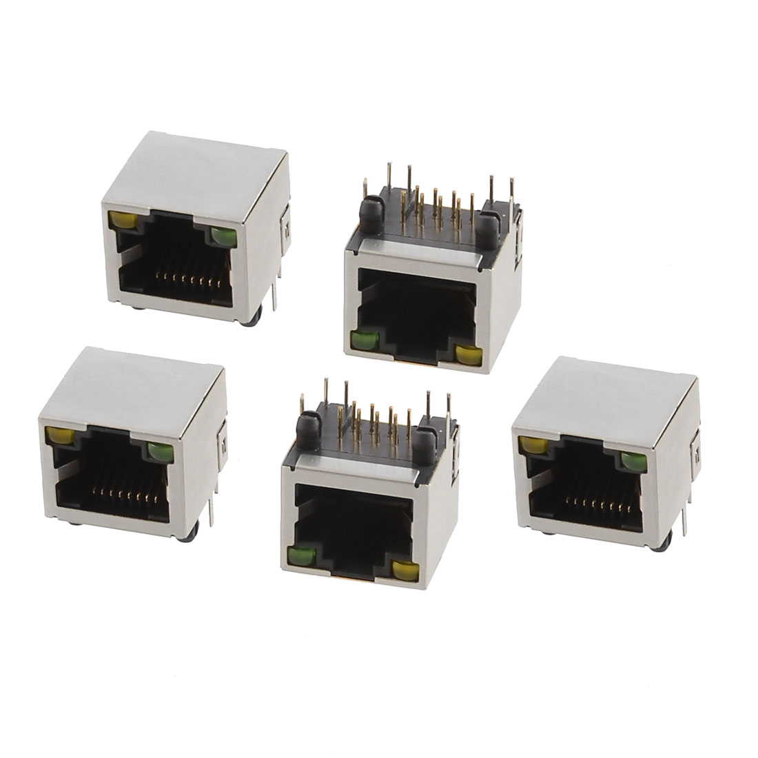 5 Pcs Shielded Network RJ45 8 Terminals Modular PCB Jacks