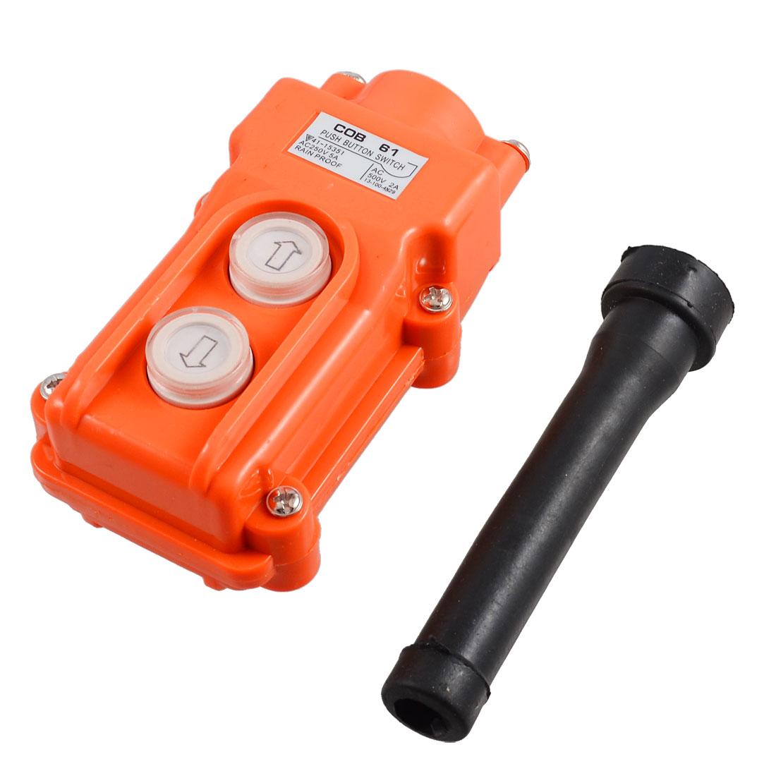 250V 5A 500V 2A 2 Ways Hoist Crane Push Button Switch Orange