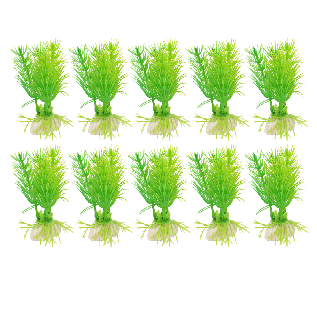 "Aquarium Green Plastic Aquatic Plants Ornament 3.1"" Height 10 Pcs"