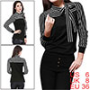 Ladies Self Tie Bow Stand Collar Black White Stripes Shirt S