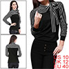 Woman Black White Stripes Long Sleeve Stand Collar Shirt Tops M