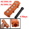 250V 5A 500V 2A 4 Ways Hoist Crane Push Button Switch Orange COB-62