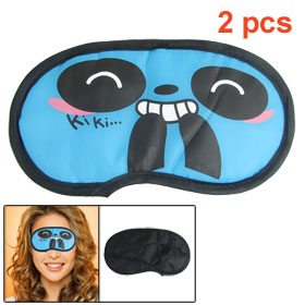 2 Pcs Blue Black Kawaii Cartoon Panda Pattern Eye Mask Protective Travel Eeyshield