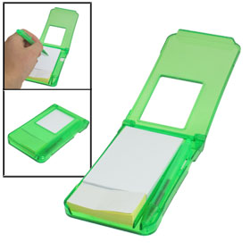 2 in 1 Self-Sticker Note Writing Memo Pad w Green Ballpen