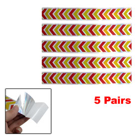 5 Pairs Yellow Red Silver Tone Reflective Arrow Stickers for Car