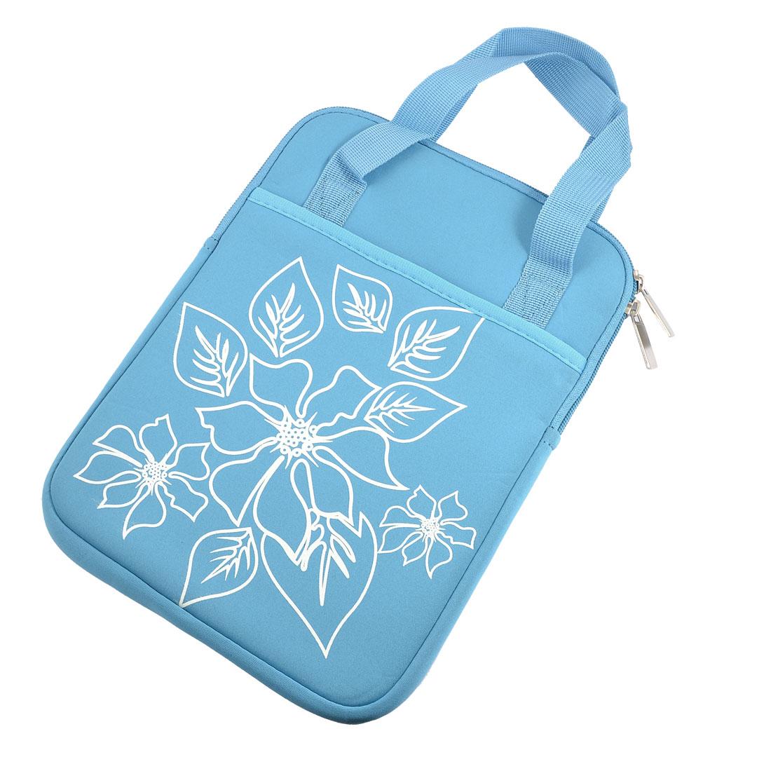 "10"" 10.1"" 10.2"" Blue Flower Neoprene Laptop Sleeve Bag + Handle"