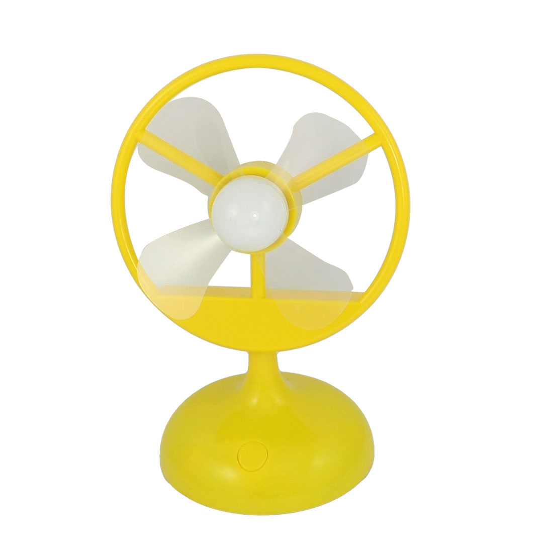 Battery Powered Head Adjusting USB Mini Desktop Fan Yellow