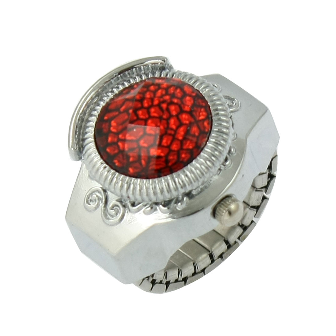 Women Silver Tone Stretch Band Plastic Crystal Accent Ring Watch Red