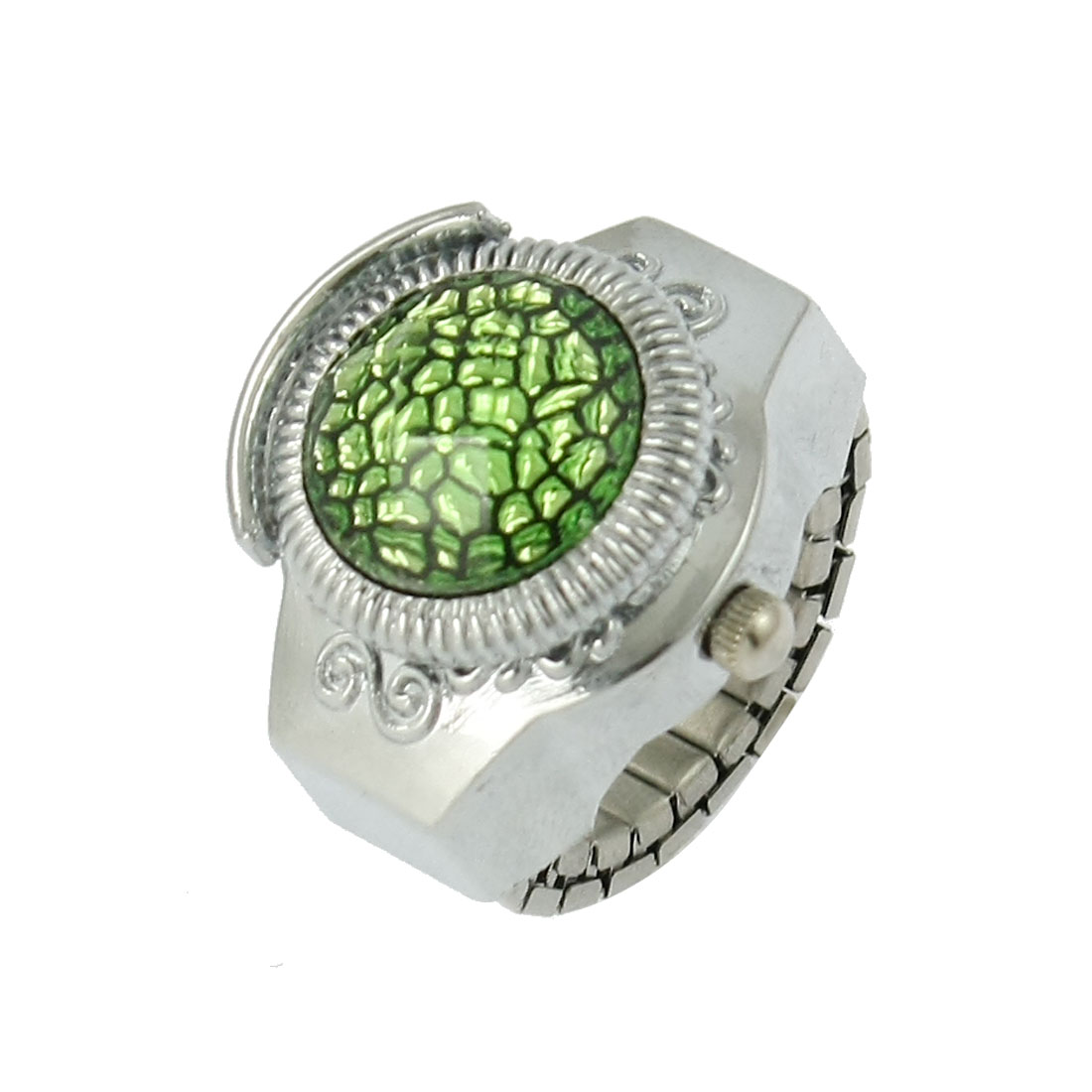 Women Arabic Numeral Dial Green Plastic Crystal Cover Finger Ring Watch