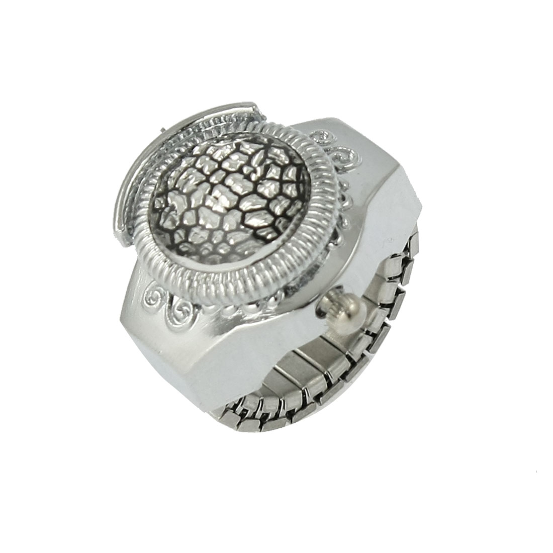 US 4 Plastic Crystal Decor Cover Finger Ring Watch Silver Tone for Ladies