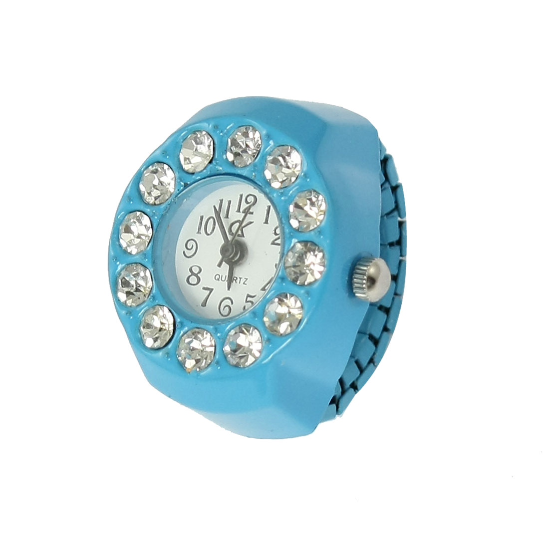 Women Sky Blue Stretch Band Round Face Ring Finger Jewelry Watch US 3 1/2