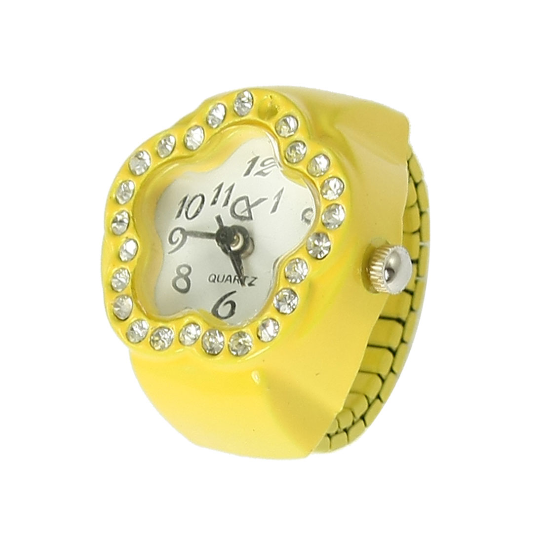 Rhinestone Decor Stretch Band Flower Finger Ring Watch Yellow for Ladies