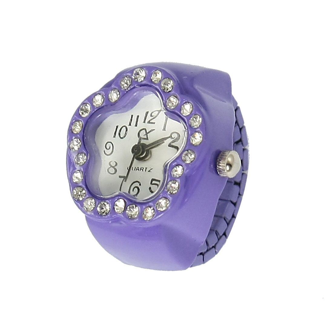 Rhinestone Detail Stretch Band Flower Finger Ring Watch Purple for Ladies