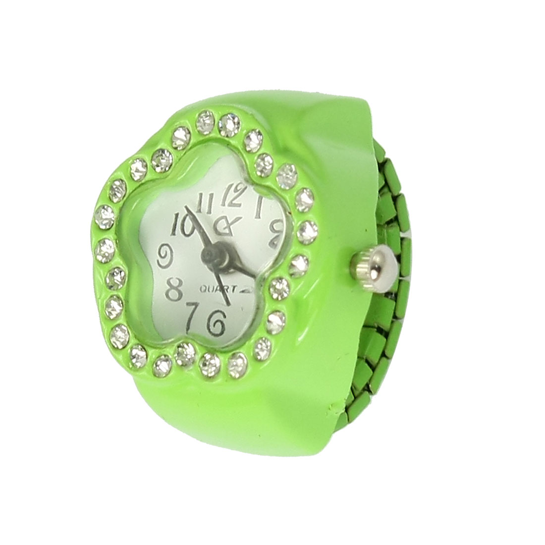 Ladies Green Stretch Band Rhinestone Detail Flower Face Finger Ring Watch