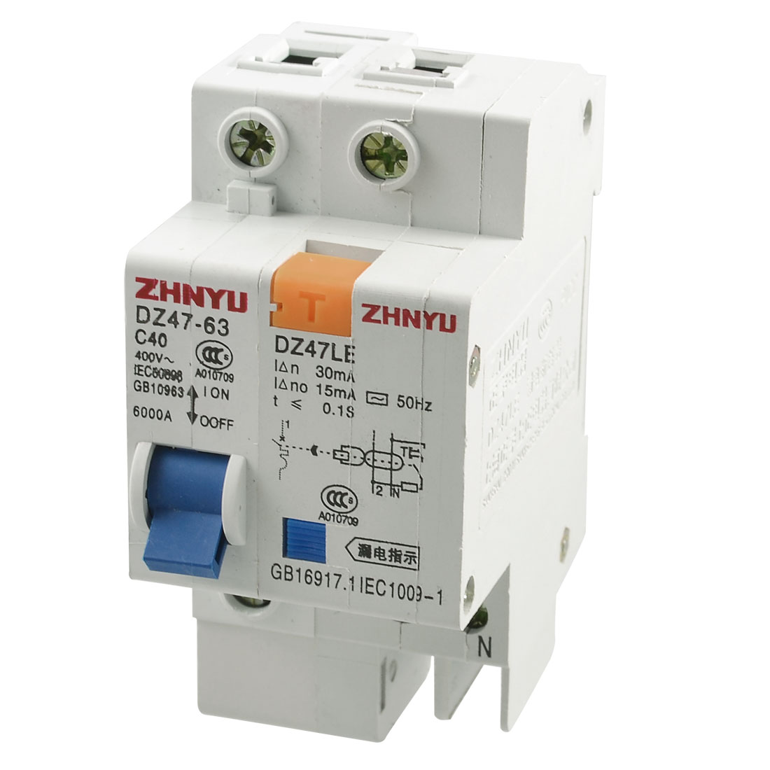 DIN Rail Mounted AC 400V 40A 1P+N ELCB Earth Leakage Circuit Breaker